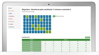 Interface prática do programa de desdobramento Loteca, Mega Sena e outros.